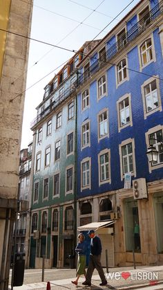 Tiled façades in Lisbon's downtown. This area is known as 'Baixa Pombalina', due to the Marques de Pombal, who was responsible for its reconstruction after the big earthquake that destroyed a great part of the city. It was rebuilt according to the modern standards of the time.