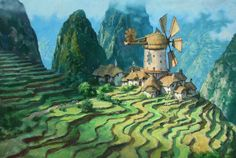 Windmill Village by James Gurney ✤ || CHARACTER DESIGN REFERENCES
