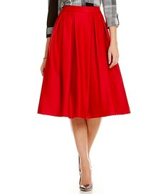 Karl Lagerfeld Flared Midi Skirt poly/spandex rouge sz4 129.50