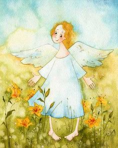 Angles watching over you Vika Kirdiy Supernatural Angels, I Believe In Angels, Winter Illustration, Angel Pictures, Angel Guide, Angels In Heaven, Angel Art, Sacred Art, Whimsical Art