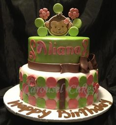 green and pink Mod Monkey cake