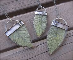 Real Leaves, Resin, Sterling necklace www.ashleyweber.com