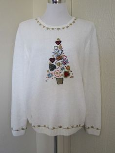 Alfred Dunner size Large ugly Christmas holiday sweater tree hearts buttons