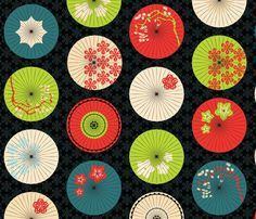 japanese umbrellas summer colors fabric by pinkowlet on Spoonflower - custom fabric