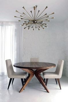 interior design living room modern retro mid century teak round dining table, sputnik brass pendant lamp light candelier