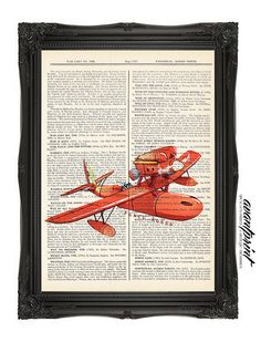 Porco Rosso Studio Ghibli Inspired Art Print on an Antique Unframed Upcycled Bookpage