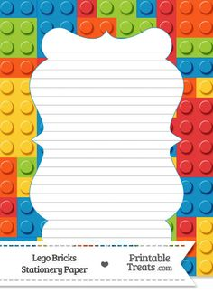 Lego Bricks Stationery Paper--- https://www.pinterest.com/printabletreats/lego-theme-printables/