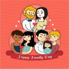 Happy Cute Family File Photo Vector Background