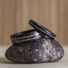 Macassar Ebony bentwood ring set with thin Silver Glass inlays.