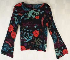 Lynne Ritchie Silk Blend Knit Top Bell Sleeves Boho Black Red Blue M #LynneRitchie #KnitTop #Casual