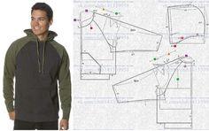 """Men """"Kangaroo """" sport jacket with hood - modeling про . Mens Sewing Patterns, Clothing Patterns, Dress Patterns, Hoodie Pattern, Jacket Pattern, Fashion Sewing, Mens Fashion, Fashion Outfits, Sewing Clothes"""