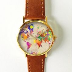 Watercolor World Map Watch, Leather Watch, Women Watches, Boyfriend Watch, Men's Watch, Vintage Style Watch, Silver Gold Rose