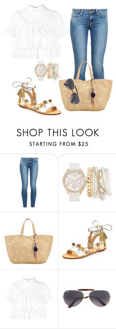 """""""Casual"""" by alice-fortuna ❤ liked on Polyvore featuring Paige Denim, Mixit, Star Mela, Loeffler Randall, Giamba and Ray-Ban"""