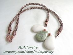 Viking weave copper necklace/ Green Earth Jasper stones / #gemstone jewelry / I love the fact that each stone is slightly different so each piece of jewelry purchased is unique. This Viking knit necklace is available in my Etsy shop at: https://www.etsy.com/mdmjewelry/listing/520749183/earth-jasper-viking-knit-necklace?ref=shop_home_active_1