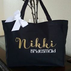 Bridesmaid Bag Custom Tote Canvas Gift Idea Bride