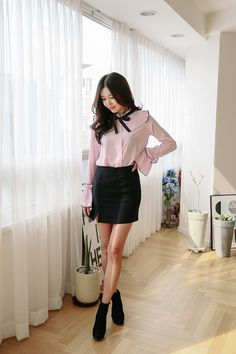 Buy Trimmed Mini Skirt at Korean Fashion Store. Dedicated to bringing customers the latest Korean fashion. We are constantly on the look-out for what's trending in South Korea so come visit our store to take a glimpse of the latest Korean fashion. Cute Fashion, Fashion Models, Girl Fashion, Fashion Outfits, Womens Fashion, Kpop Outfits, Korean Outfits, Cute Outfits, Korean Clothes