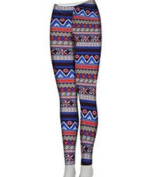 Navy and Red Zig Zag and Aztec Print Stretch Leggings - The Rustic Shop