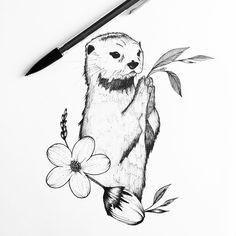 """1,140 Likes, 19 Comments - Eva.Svartur (@eva.svartur) on Instagram: """"Cute otter for Valérie! #otter #mammal #animal #flower #botanical #nature #illustrator…"""""""
