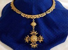 Vtg Old Gold Wash Etruscan Medieval Brutalist Maltese Cross Necklace #Collar