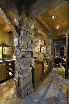 Home Theater Design Ideas, Pictures, Remodel and Decor // Awesome // Stone Basement Movie Room Man Cave Basement, Rustic Basement, Basement Ideas, Garage Ideas, Basement Bars, Basement Renovations, Home Theater Design, Timber House, Log Homes
