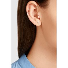 Maria Tash 18-karat rose gold diamond earring (1.305 BRL) ❤ liked on Polyvore featuring jewelry, earrings, rose gold earrings, post earrings, heart earrings, heart shaped diamond earrings and rose gold diamond earrings