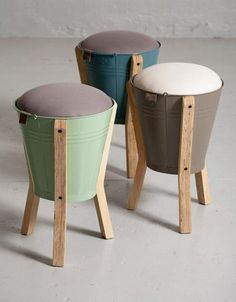 Water pails turned foot stools/stools...great idea!