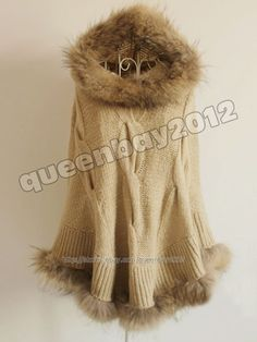 New 100% Real Genuine Raccoon Fur Trim Poncho Knitwear Sweater Stole Hoodie Warm #Queenshiny #Poncho