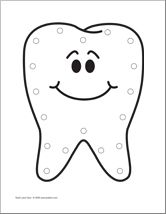 all about me: teeth lacing card Tooth printable for tooth theme #homeschool