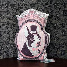 Boston Terrier Pillow In Pink