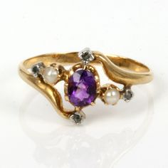 Antique Amethyst Rings   Buy French antique amethyst, pearl and diamond ring, Antique Rings ...