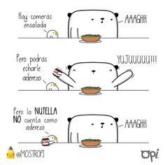 AAAGH! #opi #kipi #cute #kawaii #mostropi #ilustración #nutella #ensalada