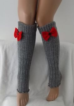 Grey and Red Bow Leg Warmers Boot Socks  Machine Knit  Women's Socks Winter Socks birthday gifts valentines day gifts