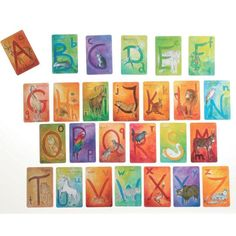 Waldorf Alphabet Cards include a set of 48 beautifully illustrated, colorful letter flash cards to provide a joyful entry into the world of letters and words. In English. Printed in Germany by Grimms Spiel & Holz.