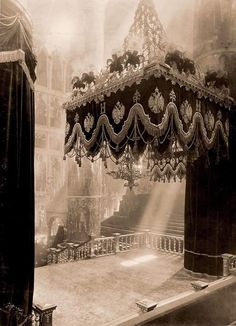 The empty dias inside the Cathedral of the Domition awaiting the placement of the three thrones for Tsar Nicholas ll of Russia's Coronation in 1896.