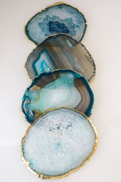 Gold rim TEAL agate coasters. gem coasters. stone by lilpengeeGems