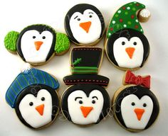 Penguin face cookies by Pam of Cookie Crazie.