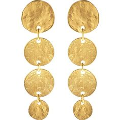Kenneth Jay Lane Four Coin Pierced Earrings- Gold ($54) ❤ liked on Polyvore featuring jewelry, earrings, gold, gold coin jewelry, gold earrings, coin jewellery, yellow gold earrings and gold jewelry