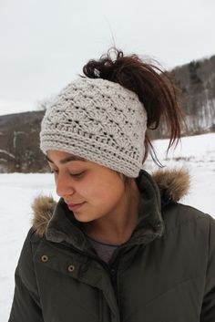 Image of Messy Bun Beanie in Shell Stitch • Linen