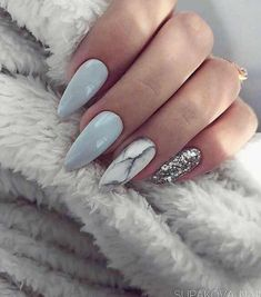 Almond Nails Blue and Grey Nails Marble Nails Silver Glitter Nails Acrylic Nails Gel Nails GlitterBomb almondnails Almond Acrylic Nails, Almond Nails, Acrylic Gel, Silver Glitter Nails, Grey Gel Nails, Grey Acrylic Nails, Baby Blue Nails With Glitter, Acrylic Nail Designs Glitter, Sky Blue Nails