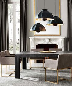 Beautiful dining room, Marble fireplace, large table, brass base chairs with contemporary lighting.
