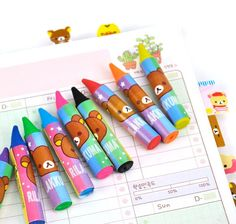 Don't be fooled! Even though these fun, colorful Rilakkuma school accessories look like crayons, they are actually erasers! Erasers for lead that is. Each set comes with a total of 12 colored crayon l