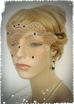 Beige Lace with Black Crystal Mask-Mysterious by CandiedCherrybyKC