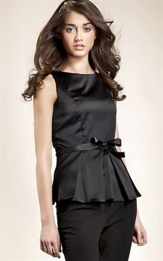 Ozsale - Sleeveless Tie Waist Blouse Black - Ozsale.com.au