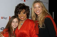 Eartha Kitt gets together with her daughter, Kitt, and granddaughter Rachel backstage during the 2006 Heart Truth Red Dress Collection show at the Tent in Bryant Park on the opening day of Fashion Week. Eartha Kitt Daughter, Mocha, Black Celebrities, Celebs, Celebrity Kids, Black Families, Family Affair, Old Hollywood, Musica