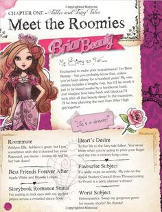 "showingmytruefeathers: "" Ever After High Annual 2015 book Preview! The character profiles are similar to the doll profiles, so Kitty Cheshire's profile might be something everyone is interested in..."