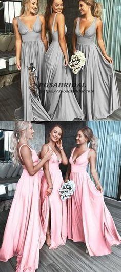7e21f219972 2019 A-line Cheap Sexy V Neck Colorful Long Modest Elegant Bridesmaid  Dresses