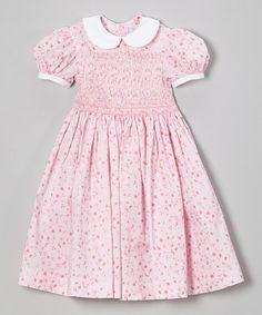 Pink Floral Smocked Collar Dress - Infant, Toddler & Girls