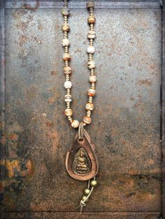 Kurze Kette Buddha Bronze, vintageethnohippiemust have