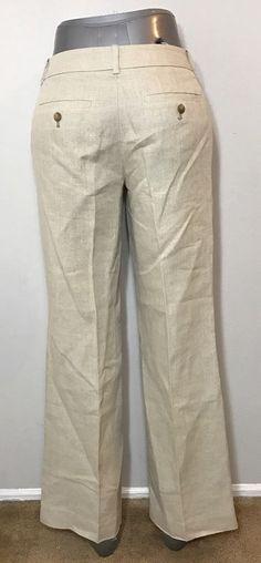 Ann Taylor LOFT Size 0 Pants Marissa Beige Linen Beach Summer Vacation Spring #AnnTaylorLOFT #Linen