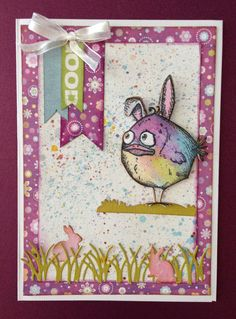 Homemade card using Tim Holtz Crazy Bird die cards tim holtz Crazy Bird, Crazy Dog, Tim Holtz Stamps, Bird Cards, Animal Cards, Cool Cards, Creative Cards, Homemade Cards, Card Ideas